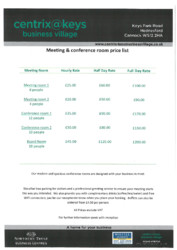 Meeting Room Price List